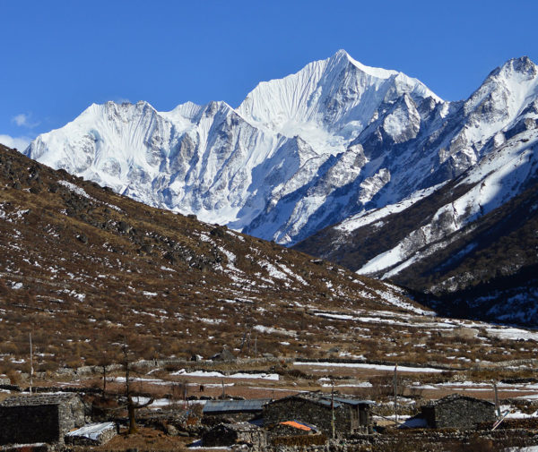Mundu Village back ground Mt Khang Chhempo Langtang